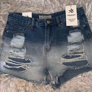 American Bazi high waisted distressed shorts